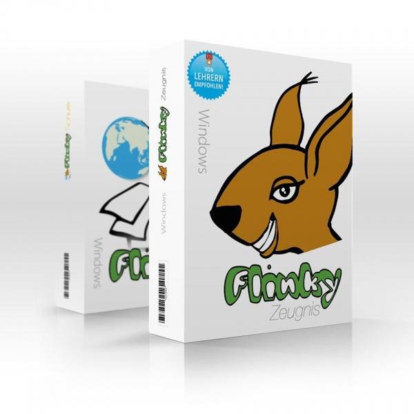 Produktpackungen von Flinky Zeugnis und Flinky Schule